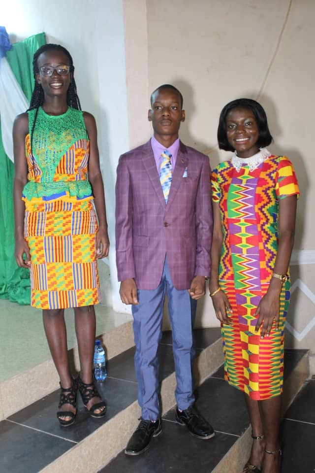 excellence award winners  from  left 2nd best overall - miss wilhermina opoku middle - master arotiba  peter seunara miss brago afrifa sarpong